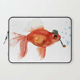 Goldfish with pipe and hat Laptop Sleeve