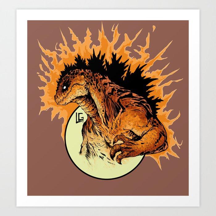 burning godzilla art print - Godzilla Pictures To Print
