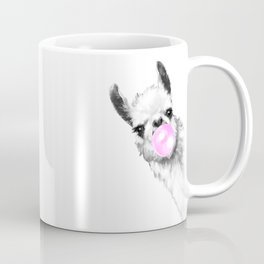 Bubble Gum Sneaky Llama Black and White Coffee Mug
