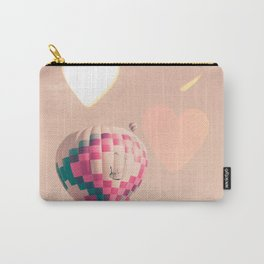 Hot air balloon nursery and heart bokeh on pale pink Carry-All Pouch