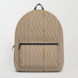 Orange Beige Geometric Pattern Backpack