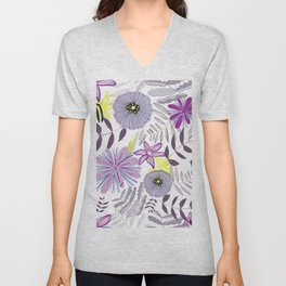 Wild Flowers and Palms Colorful Summer Time Pattern Unisex V-Neck