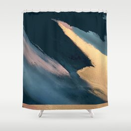 Ignite: colorful abstract in blue pink and gold Shower Curtain