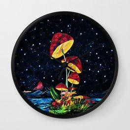 Cosmic mushrooms Wall Clock