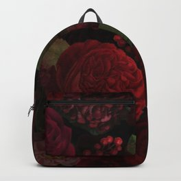 Vintage And Shabby-Chic Roses In Red And Black Midnight Botanical Rose Garden Backpack