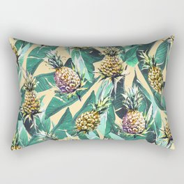 Forest green yellow banana leaves tropical pineapple pattern Rectangular Pillow