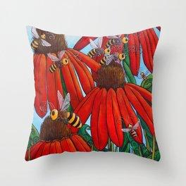 Bee Happy by DeeDee Draz Throw Pillow