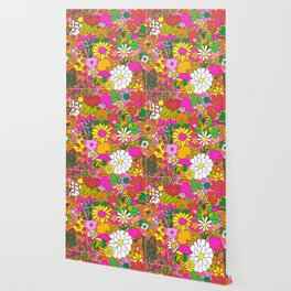 60's Groovy Garden in Neon Peach Coral Wallpaper