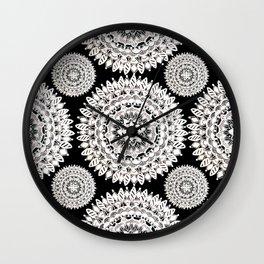 Black and Metallic White Floral Textile Mandala Wall Clock