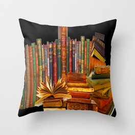 SHABBY CHIC ANTIQUE LIBRARY BOOKS, LEDGERS &  BOOKS Throw Pillow