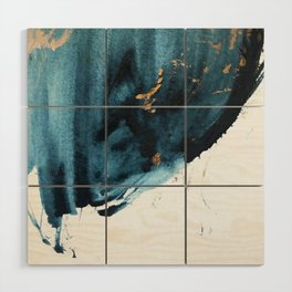 Sapphire and Gold Abstract Wood Wall Art
