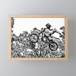 Stealing the Air - Freestyle Motocross Rider Framed Mini Art Print