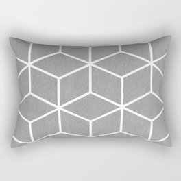 Light Grey and White - Geometric Textured Cube Design Rectangular Pillow