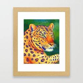 Colorful Leopard Big Cat Wild Cat Framed Art Print