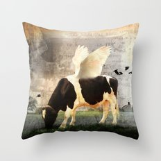 Cow with Wings Throw Pillow