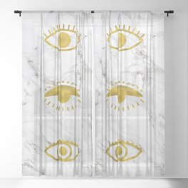 Golden Eyes on Marble Sheer Curtain