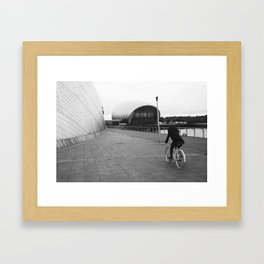 cycling around the science centre Framed Art Print