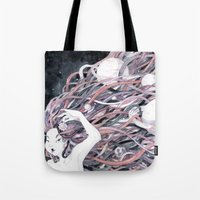 solar system Tote Bags featuring Solar System by Mana De Alba