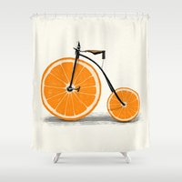 orange Shower Curtains featuring Vitamin by Florent Bodart / Speakerine