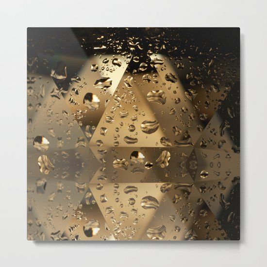 Golden Crystals and Droplets Metal Print