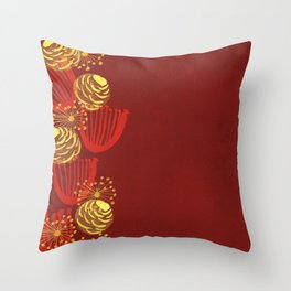 Garden Charm IV:  Floral Watercolor on Scarlet Red Throw Pillow