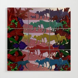 Dogs and Flowers Wood Wall Art
