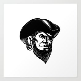 Pirate Wearing Eye Patch Scratchboard Art Print