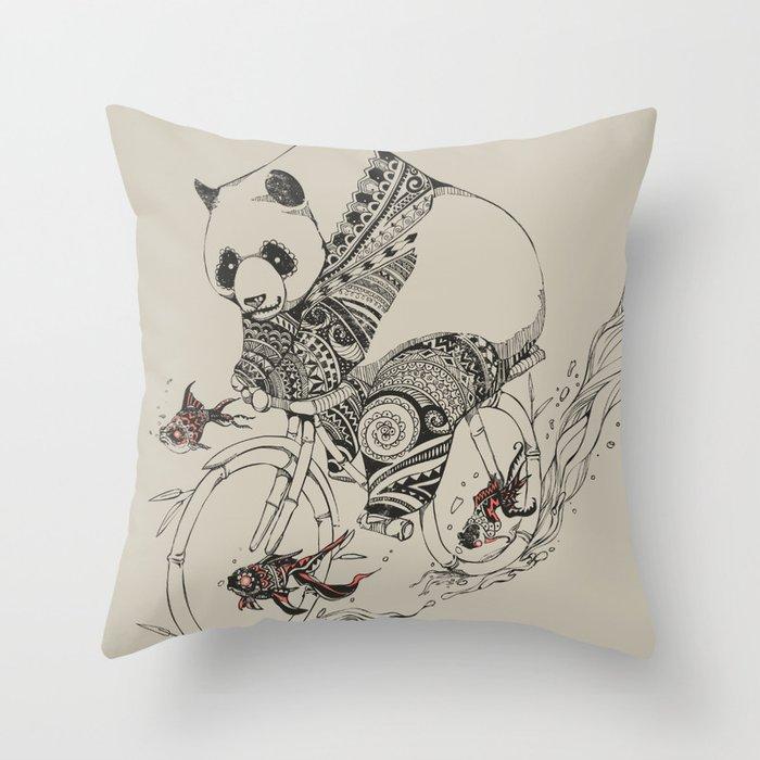 Panda and Follow Fish Throw Pillow