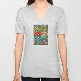 Colorful Circles Swimming in Green Unisex V-Neck