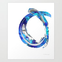 White And Blue Abstract Art - Swirling 4 - Sharon Cummings Art Print