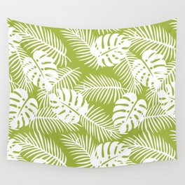 Olive Green Jungle Palm Leaves Pattern Wall Tapestry