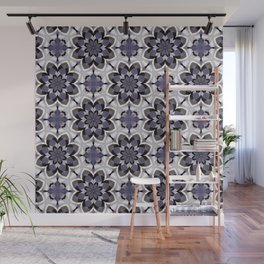 Plum Black and White Mosaic Pattern Wall Mural