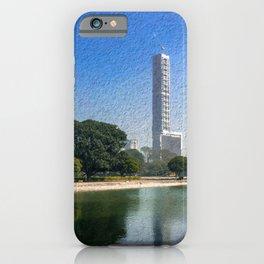 Kolkata Skyline Reflection - Paintography  iPhone Case
