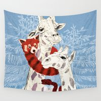 giraffes Wall Tapestries featuring Winter Giraffes  by Eline Jetten
