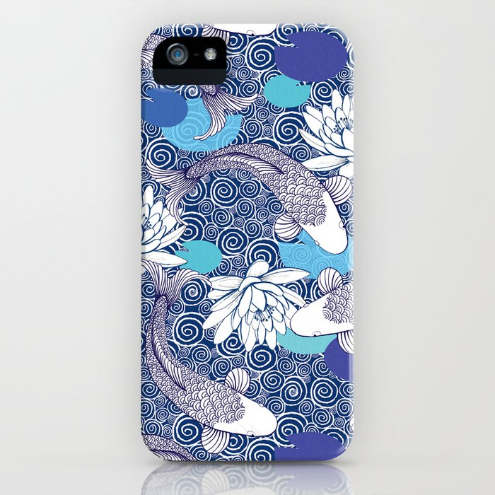 Blue Koi Ripples iPhone Case