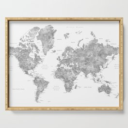 Grayscale watercolor world map with cities Serving Tray