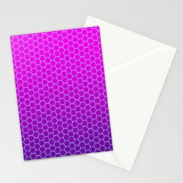 Neon Pink & Purple Honeycomb Synthwave Pattern Stationery Cards