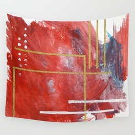 Reckless Abandon: a vibrant abstract mixed-media piece in red and gold by Alyssa Hamilton Art Wall Tapestry