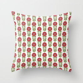 Dot Floral in Red Throw Pillow