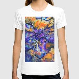 Purple and Orange Marble Pour T-shirt