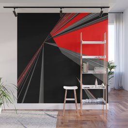 Bold Red Black Abstract Pattern Wall Mural