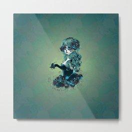 Sugar skull girl in blue Metal Print
