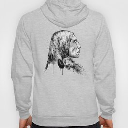 Native American Side Face Black and White Hoody