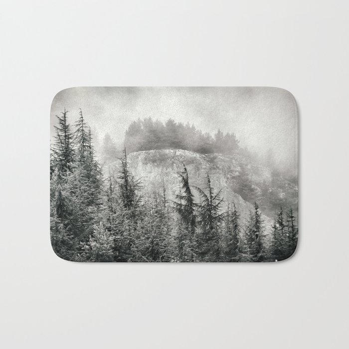 """""""Mountain light"""". Foggy forest. Bath Mat"""