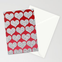 Silver Glitter Hearts Stationery Cards