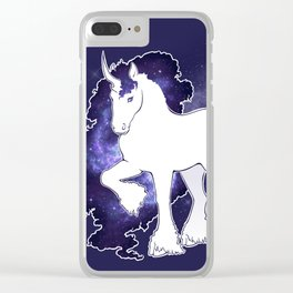 The Mane of Spiral Stars - Galaxy Unicorn Clear iPhone Case