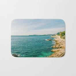 Seacoast of Cap d'Ail in a sunny winter day Bath Mat