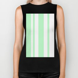 Mixed Vertical Stripes - White and Light Green Biker Tank
