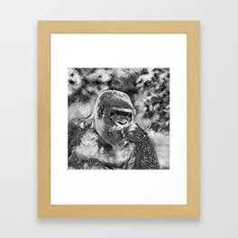 AnimalArtBW_Gorilla_20180201_by_JAMColors Framed Art Print