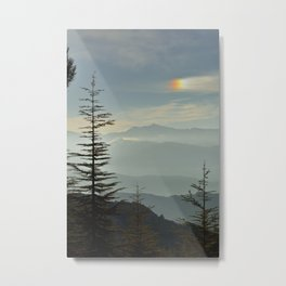 Rainbow clouds at the mountains at sunrise Metal Print